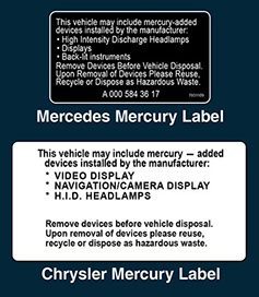 Replacement Airbag & Mercury Warning Labels-Airbag Sticker